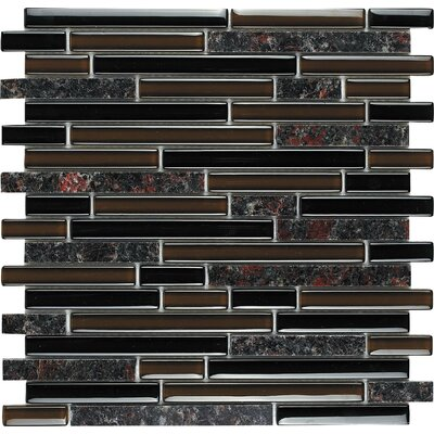 "Epoch Architectural Surfaces Spectrum Baltic Brown 12"" x 12"" Random Stone and Glass Blend Mosaic in Brown Multi"