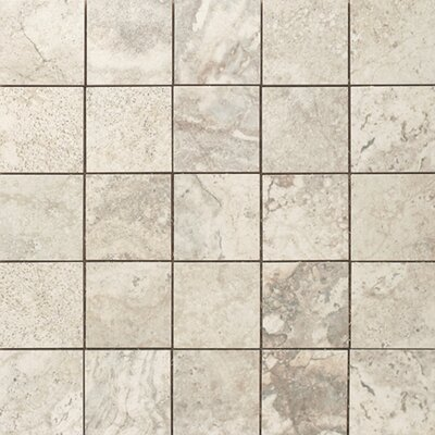 "Epoch Architectural Surfaces 12"" x 12"" Porcelain Mosaic in Gray Travertine"