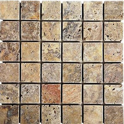 "Epoch Architectural Surfaces Scabos 12"" x 12"" Tumbled Travertine Mosaic in Multi"