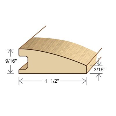 "Moldings Online 0.56"" x 1.5"" Solid Hardwood White Ash Reducer in Unfinished"