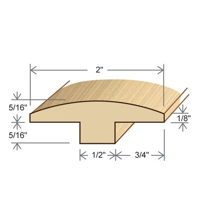 "Moldings Online 0.31"" x 2"" Solid Hardwood Andiroba T-Molding in Unfinished"