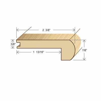 "Moldings Online 0.34"" x 2.38"" Solid Hardwood Cherry Stair Nose in Unfinished"