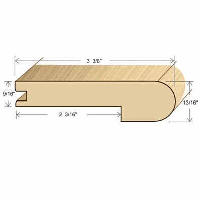 "Moldings Online 78"" Solid Hardwood Unfinished Cherry Stair Nose for 9/16"" Floors"