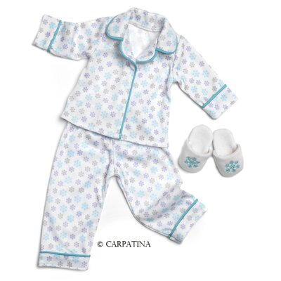 Carpatina American Girl Dolls Christmas Snow Pajamas and Slippers