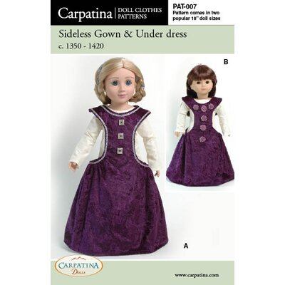 Carpatina Clothes Pattern Doll Medieval Side less Gown