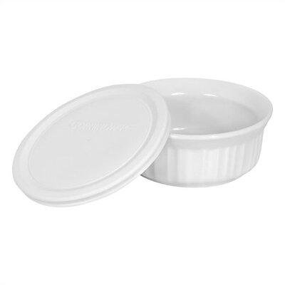 French White 16 oz. Round Dish with Plastic Cover