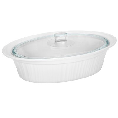 French White Oval Roaster with Glass Cover in White