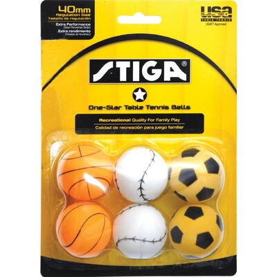 Stiga One-Star Sport Table Tennis Ball (Pack of 6)