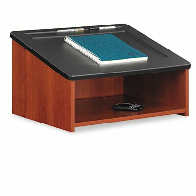 Safco Products Company Tabletop Lectern With Open Storage Area, 23-7/8w x 18-1/2d x 13-3/4h, Cherry