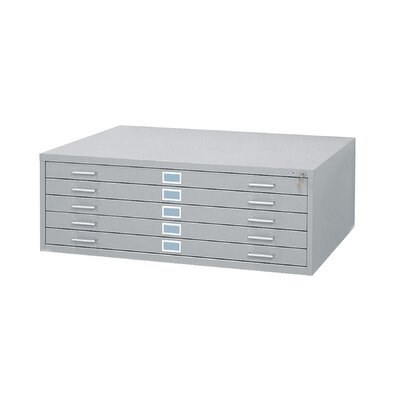 "Safco Products Company 42"" W Five-Drawer Steel Flat File with Optional Open Base"