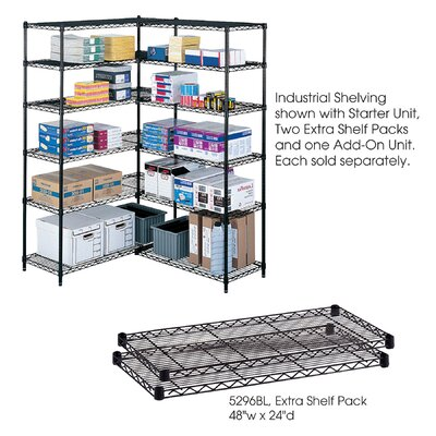 "Safco Products Company Industrial Wire Extra Shelves (48"" x 24"" Shelves)"