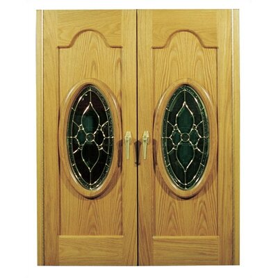 Napoleon 2 Door Oak Wine Cooler with Beveled Oval Windows