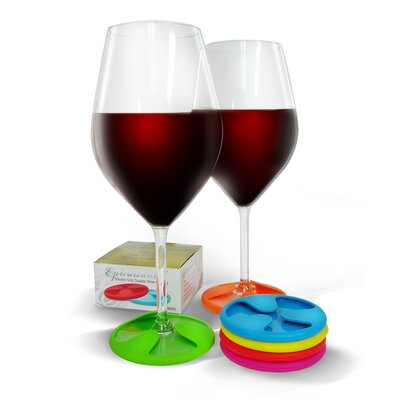 Vinotemp Epicureanist Silicone Grip Coaster Wine Charms (Set of 6)