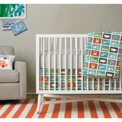 DwellStudio Squares Dove Fitted Crib Sheet