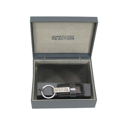 Kenneth Cole Reaction Black Trifold And Key Fob Gift Set In Gray Keepsake Box