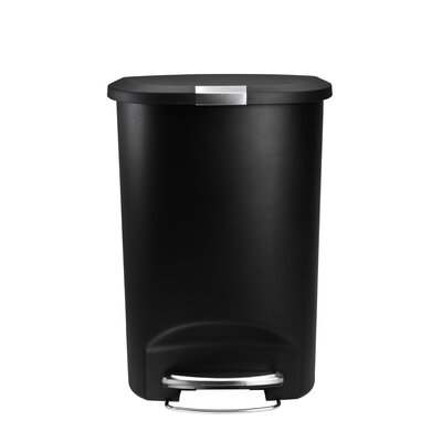 simplehuman Semi-Round Step Trash Can in Black