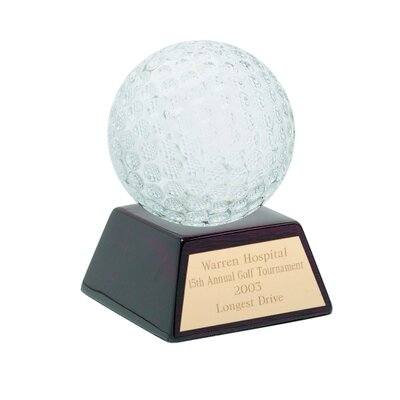 Chass Glass Golf Ball with Wood Base Award