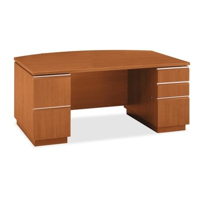 Bush Industries Milano 2 Double Pedestal Bow Front Desk with Optional Bookcase Hutch
