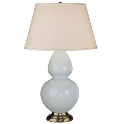 Robert Abbey Double Gourd Table Lamp in Baby Blue Glazed Ceramic with Antique Silver Base &amp; Pearl Dupioni Fabric Shade