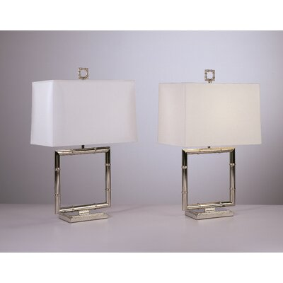 Robert Abbey Jonathan Adler Meurice Square Table Lamp in Polished Nickel
