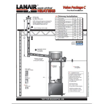 Lanair Products, LLC MX-Series 215 gallon 300,000 BTU Oil-Filled Ceiling Mount Space Heater with Roof Chimney