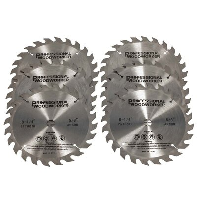 PROFESSIONAL WOODWORKER Tungsten Carbide Miter Saw Blade (Set of 6)
