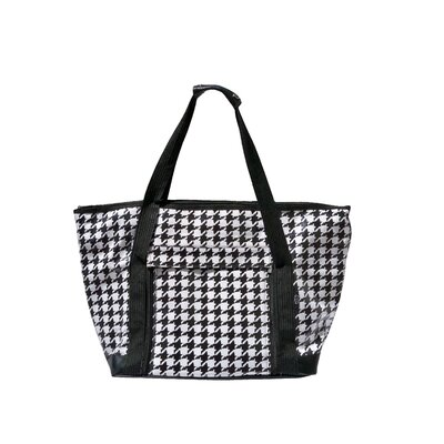 Houndstooth Picnic Tote in Black and White