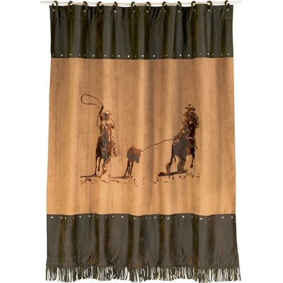 Team Roping Faux Suede Shower Curtain