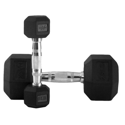 X-Mark 5 lbs - 25 lbs Rubber Hex Dumbbell Set