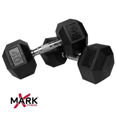 X-Mark Pair of 40 lb Rubber Hex Dumbbells