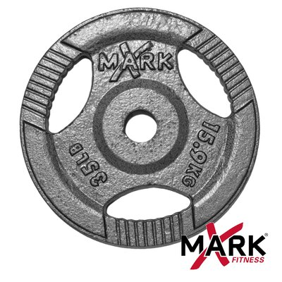X-Mark 35 lb. Hammertone Gray Olympic Tri-Grip Plate Weight
