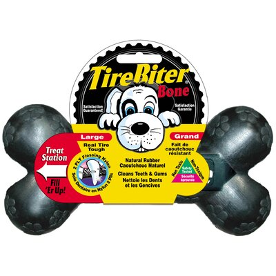 Mammoth Pet Products Tire Biter Bone with Treat Station Dog Toy in Black