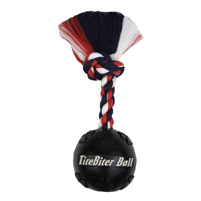 Tire Biter Ball with Rope Dog Toy in Black