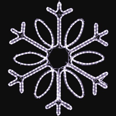 "Holiday Lighting Specialists 36"" Hanging Single Loop Snowflake in Pure White"