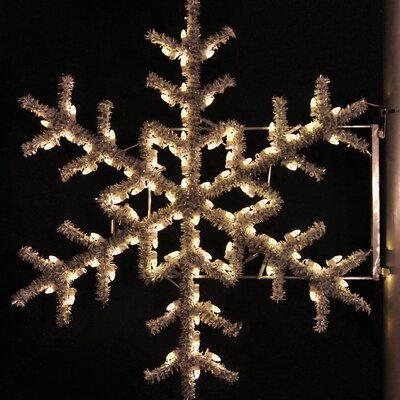 "Holiday Lighting Specialists 36"" Pole Decoration Garland Snowflake in Warm White"
