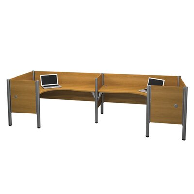 Bestar Pro-Biz Double Side-by-Side L-Desk Workstation With 4 Melamine Privacy Panels (Per Workstation)