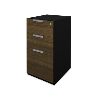 Bestar Pro-Concept Assembled Pedestal in Milk Chocolate Bamboo and Black