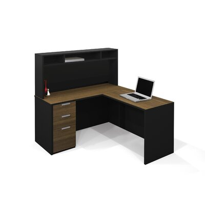 Bestar Pro-Concept L-Shaped Workstation With Small Hutch In Milk Chocolate Bamboo & Black