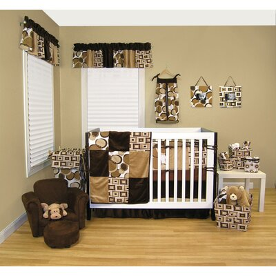Trend Lab Bubbles Brown 4 Piece Crib Bedding Set