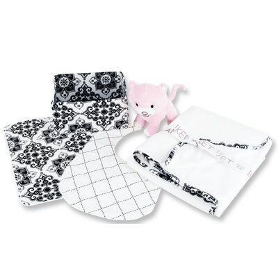 Trend Lab Versailles 5 Piece Box Gift Set in Black and White