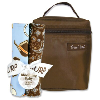 Trend Lab Cowboy Bouquet Bottle Bag and Burp Cloth Set