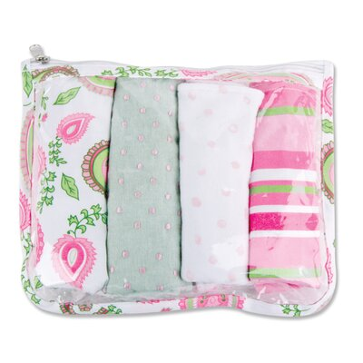 Trend Lab Paisley Zip Pouch Burp Cloth Set in Pink (Set of 4)
