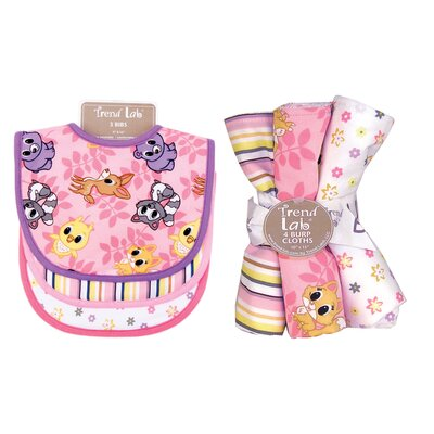 Trend Lab Lola Fox Bouquet  Bib and Burp Cloth Set
