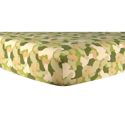Camouflage Print Flannel Crib Sheet