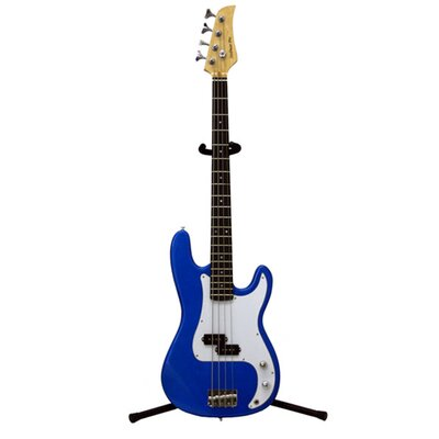 Electric Bass Guitar with Gig Bag and Cable in Metallic Blue