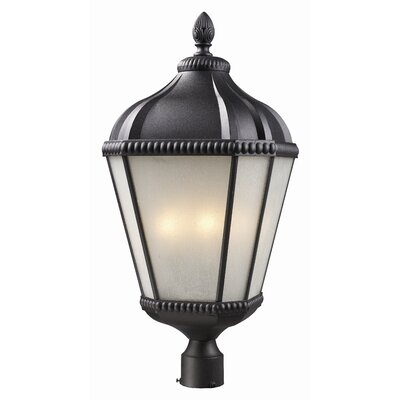 Z-Lite Waverly Outdoor Post Light with Aluminum Frame and Glass Shade