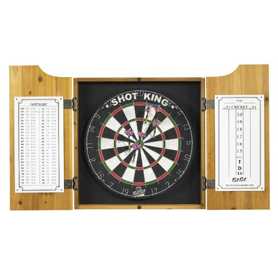 GLD Tournament Bristle Dart Board With Pine Dart Board Cabinet