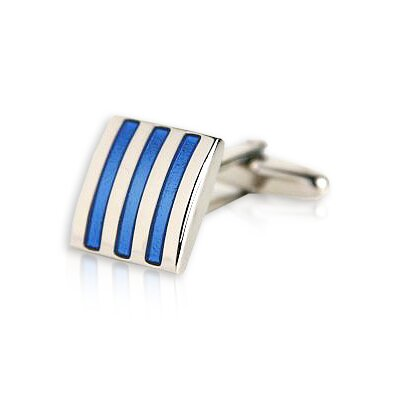 Cuff-Daddy 3-Stripe Cufflinks in Blue