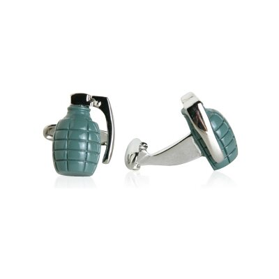 Cracked Pepper Grenade Cufflinks in Green