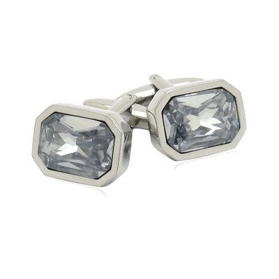 Austrian Shimmering Crystal Cufflinks in Clear